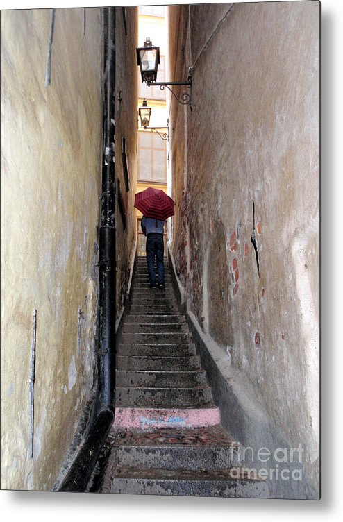 Umbrella Metal Print featuring the photograph Pink Step by Jack Gannon
