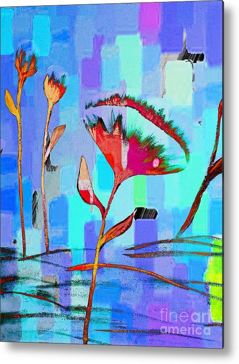 Poppies On Blue 2 Metal Print featuring the painting Poppies On Blue 2 by Barbara Griffin