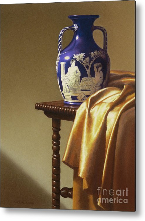 Still Life Metal Print featuring the painting Portland Vase With Cloth by Barbara Groff