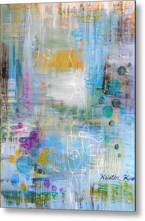 Abstract Of Rainy Garden Metal Print featuring the painting Rainy Garden by Kristin Kim