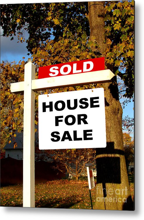 Real Estate Metal Print featuring the photograph Real Estate Sold And House For Sale Sign On Post by Olivier Le Queinec