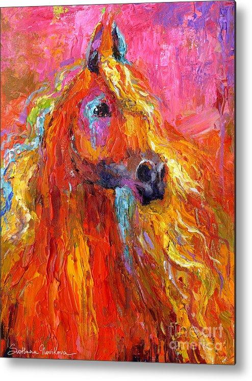 Arabian Horse Painting Metal Print featuring the painting Red Arabian Horse Impressionistic Painting by Svetlana Novikova