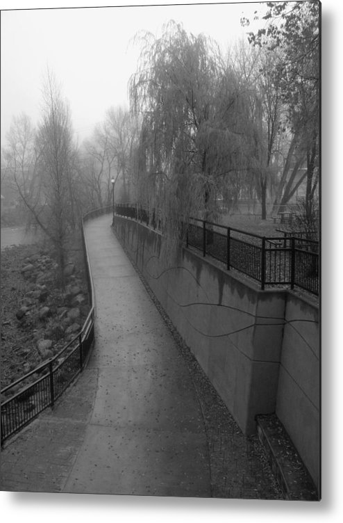 Black & White Photography Metal Print featuring the photograph River Walk by Kirk Griffith