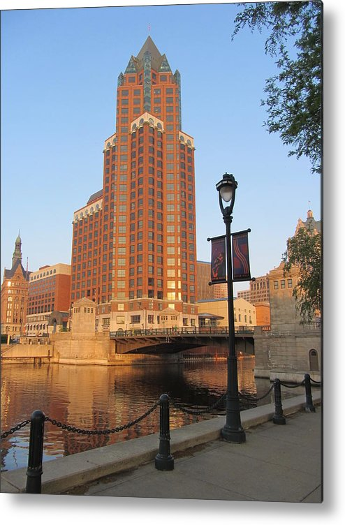 Milwaukee Metal Print featuring the photograph Riverwalk And Lamp Post by Anita Burgermeister