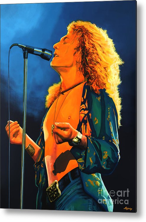 Robert Plant Metal Print featuring the painting Robert Plant by Paul Meijering