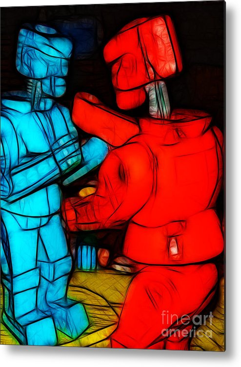 Robot Metal Print featuring the photograph Rockem Sockem Robots - Color Sketch Style - Version 1 by Wingsdomain Art and Photography