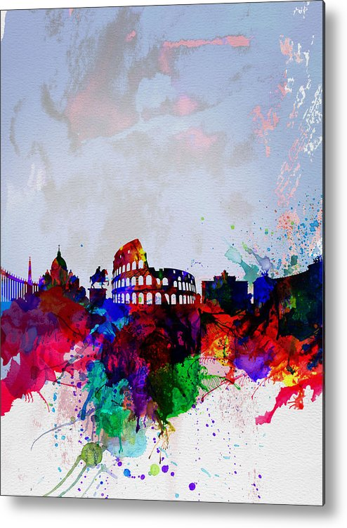Rome Metal Print featuring the painting Rome Watercolor Skyline by Naxart Studio