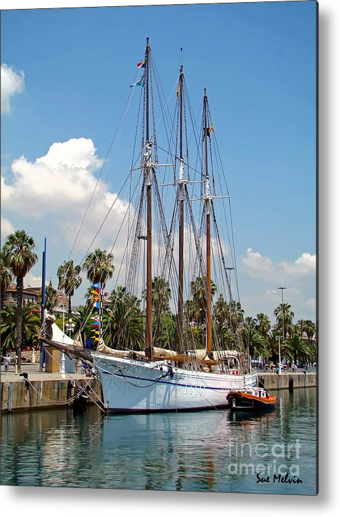 Ship Metal Print featuring the photograph Sailing In Barcelona by Sue Melvin
