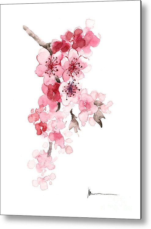 Sakura Metal Print featuring the painting Sakura Flowers Watercolor Art Print Painting by Joanna Szmerdt