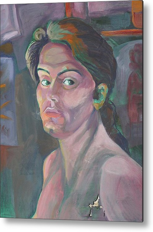 Metal Print featuring the painting Self Portrait by Julie Orsini Shakher