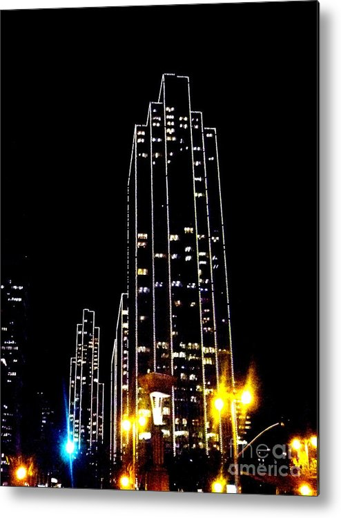 Sf.night.light Up.black.yellow.blue.white.modern.city.high Building.sky.line.energy. Metal Print featuring the photograph Sf Night Light Up by Kumiko Mayer