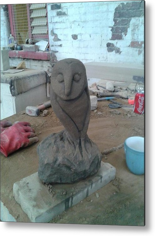 Natural Stone Metal Print featuring the sculpture Sheffield Owl by Stephen Nicholson
