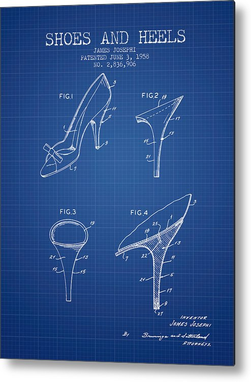 764947fdc3 Heels Metal Print featuring the digital art Shoes And Heels Patent From 1958  - Blueprint by