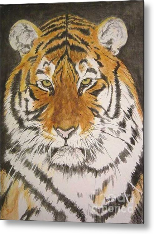 Siberian Tiger Metal Print featuring the painting Siberian Tiger by Regan J Smith