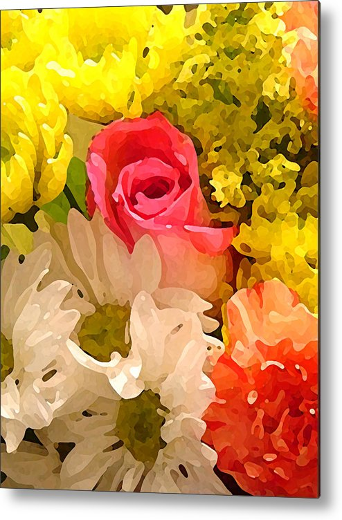 Roses Metal Print featuring the painting Single Rose Bouquet by Amy Vangsgard