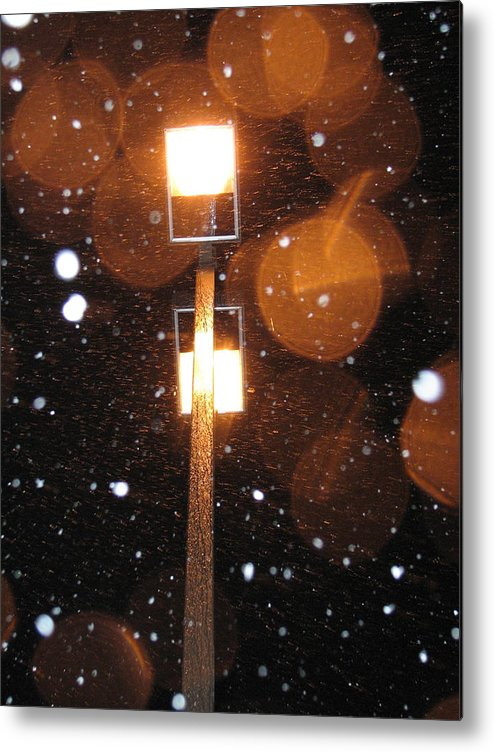 Metal Print featuring the photograph Snow At Night - 1777 by Sandy Tolman
