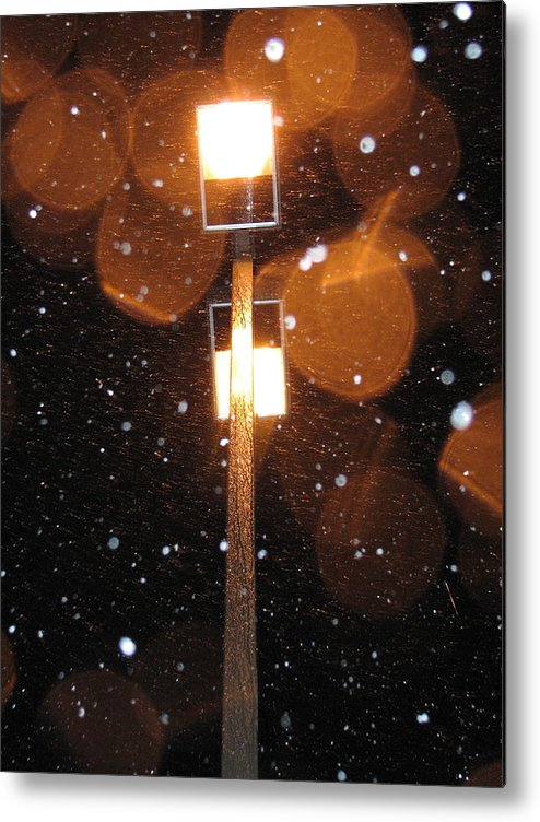 Metal Print featuring the photograph Snow At Night - 1778 by Sandy Tolman