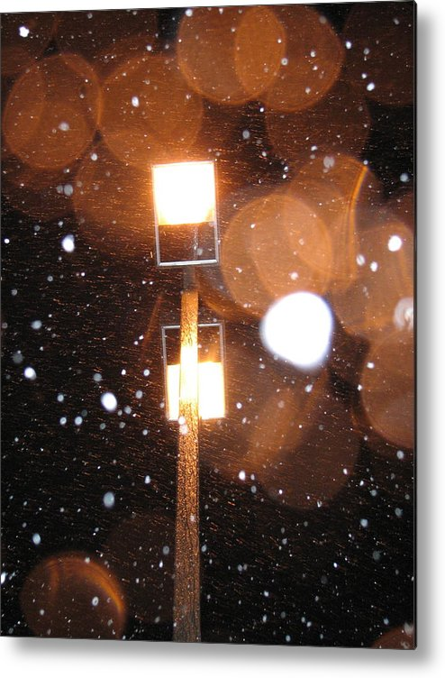 Metal Print featuring the photograph Snow At Night - 1779 by Sandy Tolman