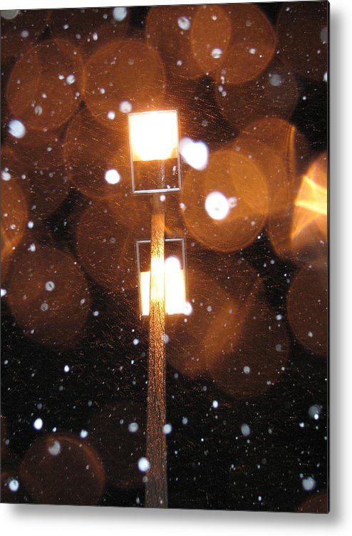 Metal Print featuring the photograph Snow At Night - 1780 by Sandy Tolman