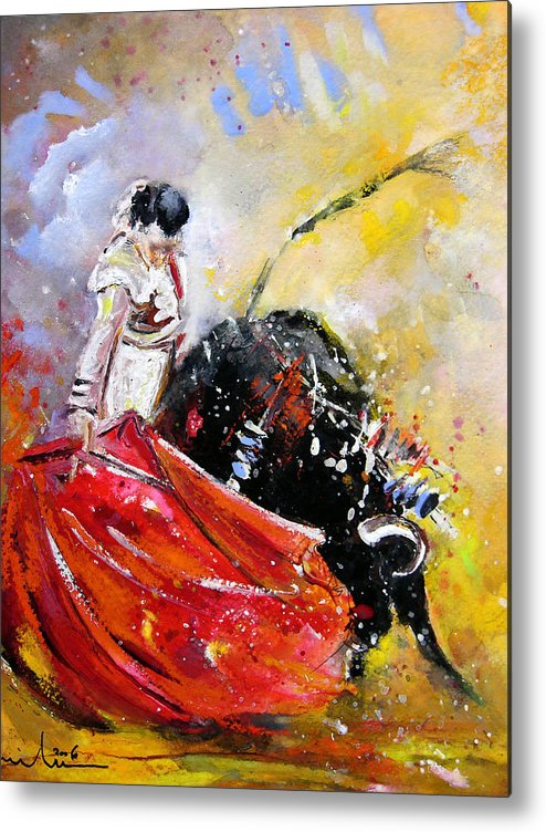Bullfight Metal Print featuring the painting Softly And Gently by Miki De Goodaboom