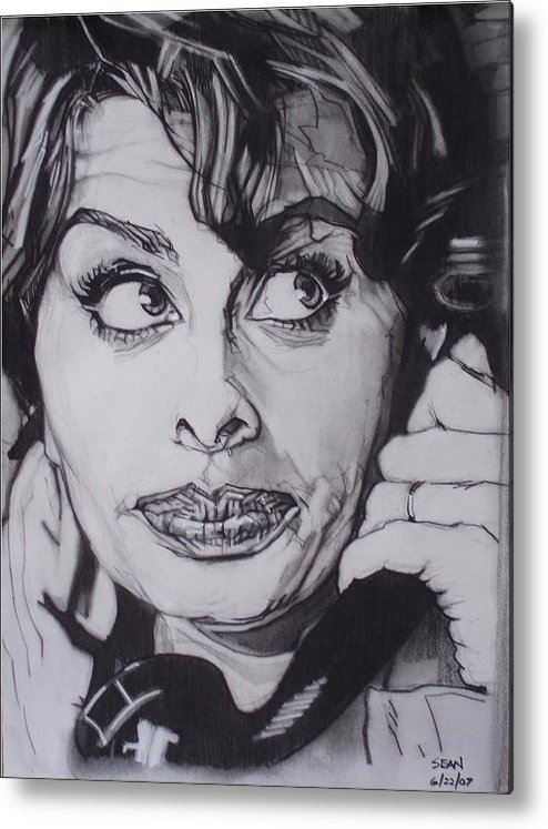 Charcoal;icon;actress;diva;italian;cat Eyes;beautiful;cute;adorable Metal Print featuring the drawing Sophia Loren Telephones by Sean Connolly