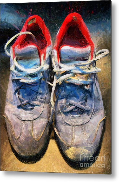 Sport Metal Print featuring the mixed media Sport Shoes Drawing by Daliana Pacuraru