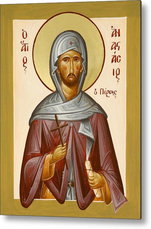 Saint Anastasios The Persian Metal Print featuring the painting St Anastasios The Persian by Julia Bridget Hayes