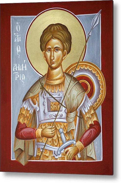 St Dimitrios Metal Print featuring the painting St Dimitrios The Myrrhstreamer by Julia Bridget Hayes