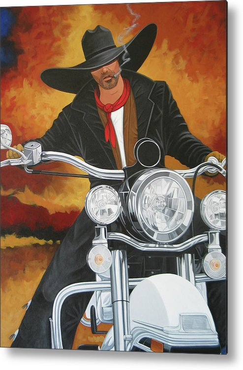 Cowboy On Motorcycle Metal Print featuring the painting Steel Pony by Lance Headlee