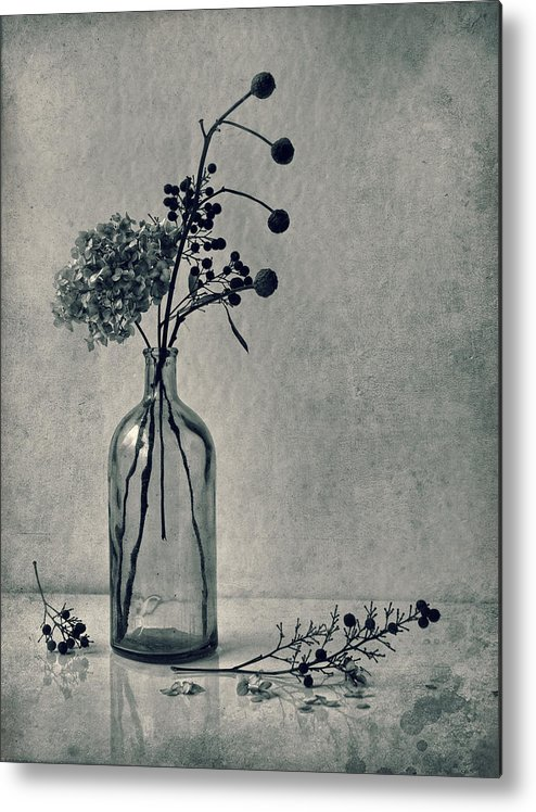 Dried Flowers Metal Print featuring the photograph Still Life With Dry Flowers by Dimitar Lazarov - Dim