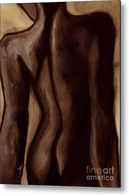 Sultry Metal Print featuring the drawing Sultry Nude Brown by Karen Larter