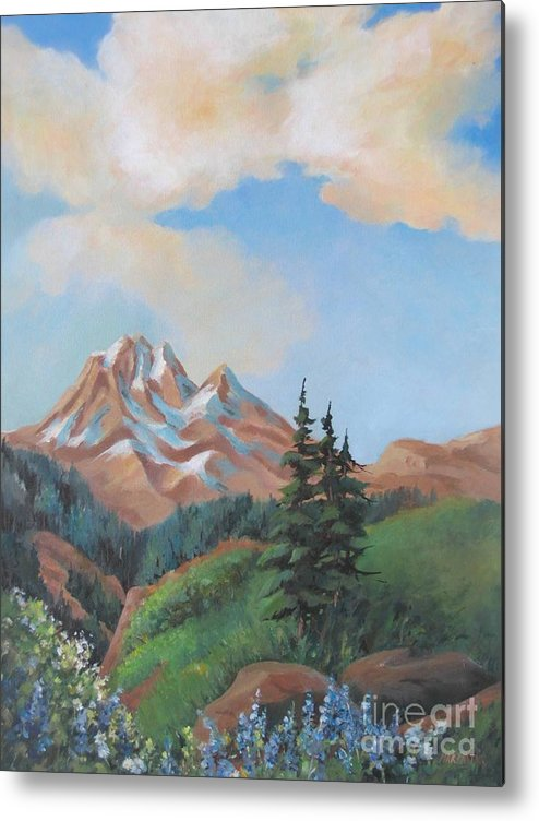 Landscape Metal Print featuring the painting Summer At Kananaskis 2 by Marta Styk