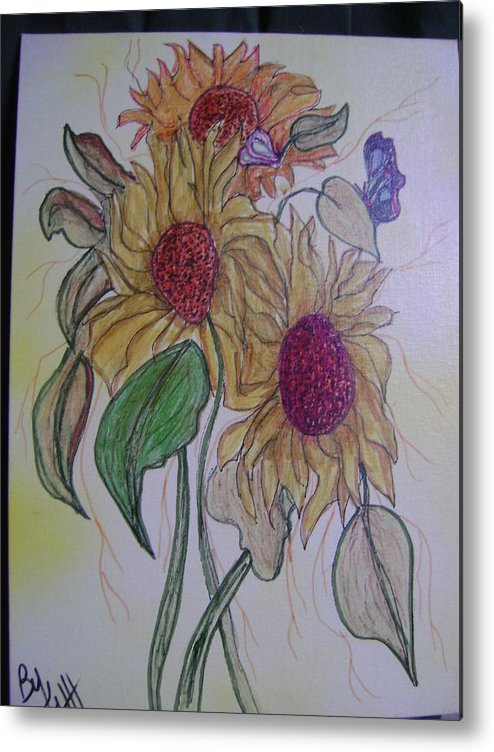 Sunflowers Metal Print featuring the mixed media Sunny Sunflowers by K