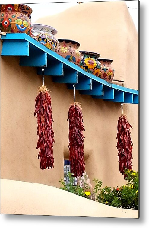 Taos Metal Print featuring the photograph Taos Chili Decor by Dan Vallo