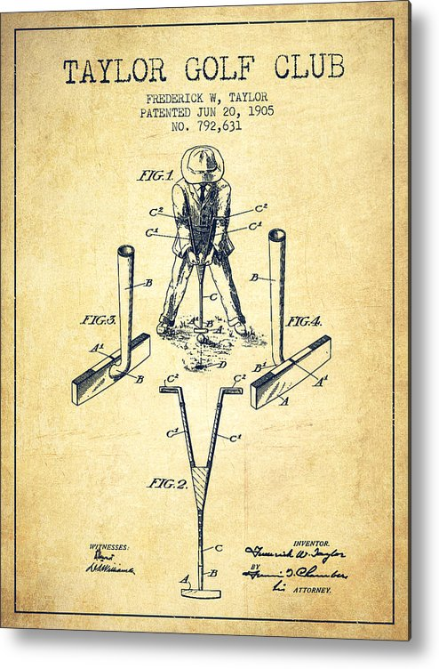 Golf Metal Print featuring the digital art Taylor Golf Club Patent Drawing From 1905 - Vintage by Aged Pixel