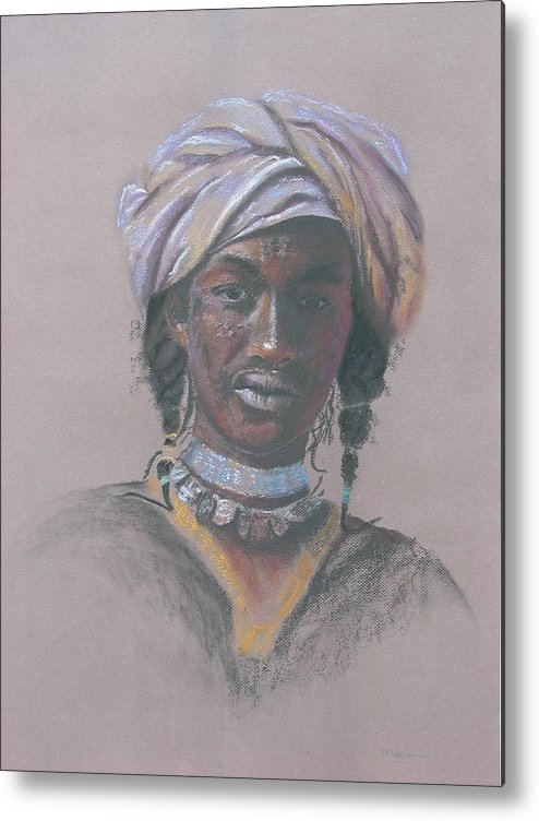 Portrait Metal Print featuring the painting Tchad Warrior by Maruska Lebrun