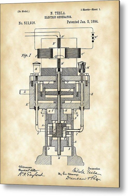 Tesla Metal Print featuring the digital art Tesla Electric Generator Patent 1894 - Vintage by Stephen Younts