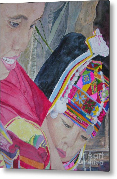 Baby Metal Print featuring the painting Thai Hill Tribe by Peggy Dickerson