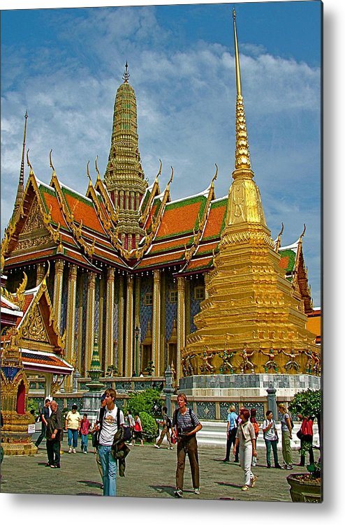 Thai-khmer Pagoda And Golden Chedis At Grand Palace Of Thailand In Bangkok Metal Print featuring the photograph Thai-khmer Pagoda And Golden Chedis At Grand Palace Of Thailand by Ruth Hager