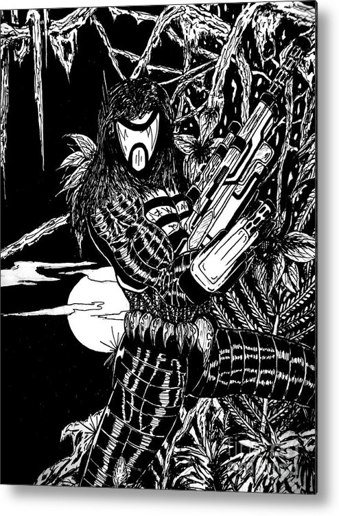 Justin Moore Metal Print featuring the drawing The Assassin by Justin Moore