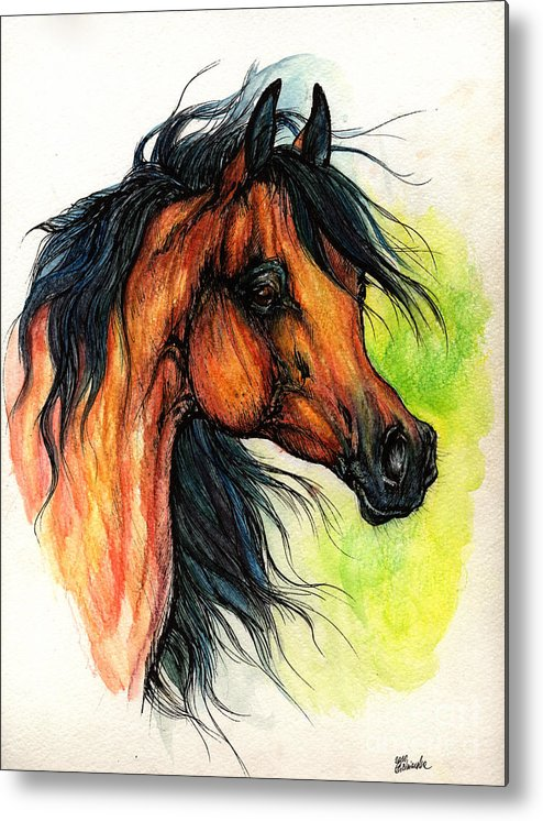 Horse Metal Print featuring the painting The Bay Arabian Horse 11 by Angel Ciesniarska