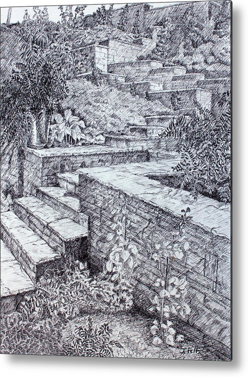 Garden Metal Print featuring the drawing The Garden Wall by Janet Felts