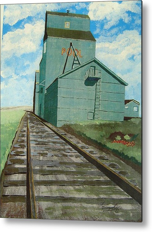Elevator Metal Print featuring the painting The Grain Elevator by Anthony Dunphy