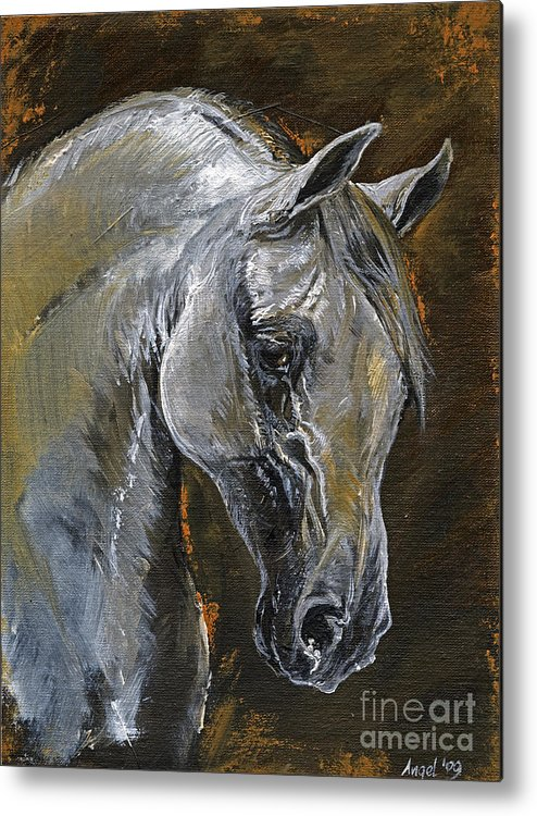 Grey Horse Metal Print featuring the painting The Grey Arabian Horse Oil Painting by Angel Ciesniarska