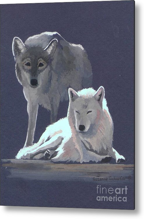 Wolves Metal Print featuring the painting The Guardian by Suzanne Schaefer
