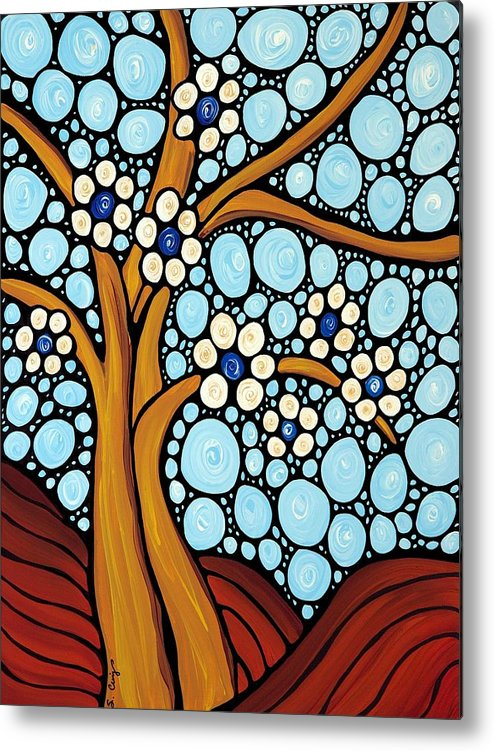 Flower Metal Print featuring the painting The Loving Tree by Sharon Cummings