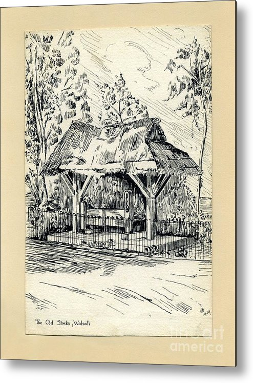 Stocks Metal Print featuring the drawing The Old Stocks Walsall by John Chatterley