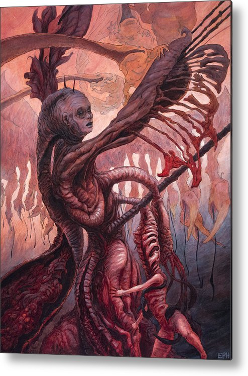 Beast Metal Print featuring the painting The Ropes And Rabbles Of The Depths by Ethan Harris