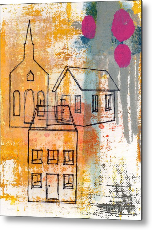 Abstract Metal Print featuring the painting Town Square by Linda Woods