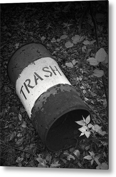 Art Metal Print featuring the photograph Trash Can by Randall Nyhof